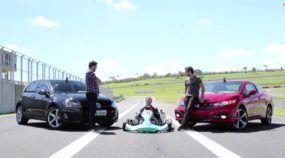 Desafio: Golf GTI x Honda Civic SI x Kart? Quem Vence? Veja e surpreenda-se!