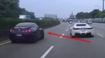 Idiota, o Cara desta Ferrari causou um Acidente com um Nissan GT-R! Quem vai pagar o prejuízo desta Batida?