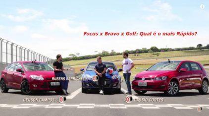 Desafio dos Hatches Médios com Barrichello! Qual é mais rápido: Golf, Focus ou Bravo?