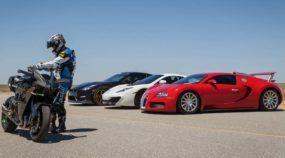 O Desafio Mais Insano: A SuperMoto mais Rápida do Mundo enfrenta Bugatti Veyron, Nissan GT-R (com 1350cv) e McLaren 12C!
