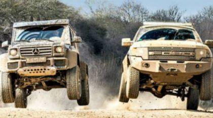 Dois Monstros do Off-Road em Ação: Ford F-150 Raptor x Mercedes G500 4×4²! Vídeo Top!