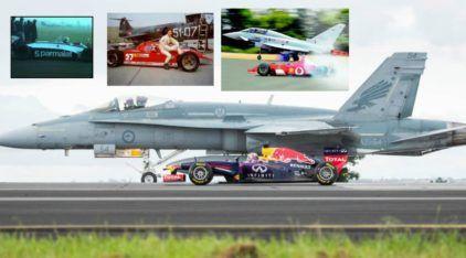 Desafio Incrível: Fórmula 1 x Aviões! Piquet, Schumacher, Villeneuve e Ricciardo contra Jatos! Quem ganha?
