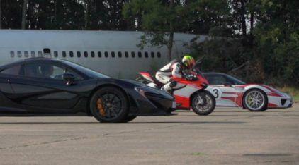 Desafio Alucinante na Arrancada: McLaren P1 x Porsche 918 x Ducati 1199 Superleggera! Quem ganha?