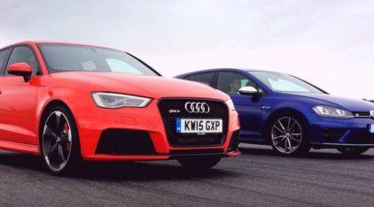 Duelo emocionante de super rivais: Audi RS3 x Volkswagen Golf R (O resultado me surpreendeu muito)!