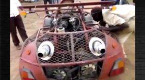 Superando a pobreza, este homem construiu seu próprio carro esportivo (com ferro-velho) na África ! Impressionante!
