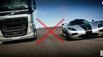 O mais curioso duelo na pista: Volvo FH x Koenigsegg One:1 (sim, um caminhão contra um superesportivo)!
