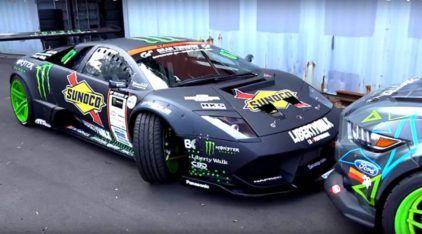 Que espetáculo! O primeiro Lamborghini preparado para o drifting (dando show ao lado de um Mustang)!