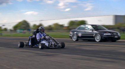 Desafio Insano: Mega Kart com 233cv (e motor da CBR1000RR Fireblade) enfrenta Audi e Porsche com mais de 1.000cv!