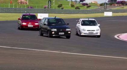 Pega épico Anos 90: VW Gol GTI x Fiat Uno Turbo x Chevrolet Corsa GSi! Quem leva?