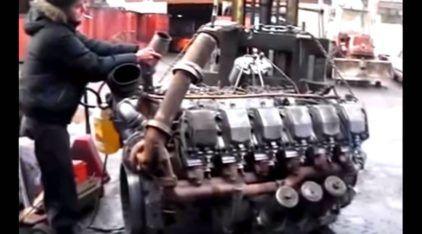 Veja como um antigo e brutal Motor V-12 Diesel despertou para a vida (ao estilo dos russos)!
