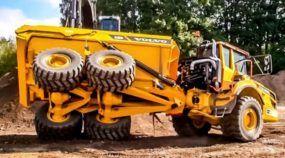 Uma apresentação insana (e no limite)! Veja o que a Volvo preparou para mostrar seus caminhões articulados e escavadeiras!
