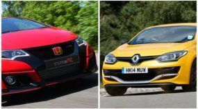 Novos desafiantes para o Honda Civic Type R: VW Golf R (arrancada) e Renault Megane RS 275 Trophy-R (na pista).