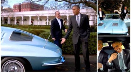 Veja o presidente Obama realizando o sonho, de infância, de dirigir uma Corvette 1963 (ao lado de um humorista)!