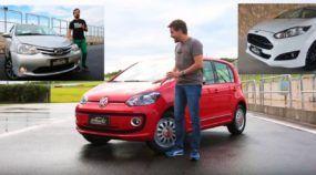 Chegou a hora da verdade para o VW Up! TSI! Veja como ele anda contra o Fiesta e o (surpreendente) Toyota Etios!