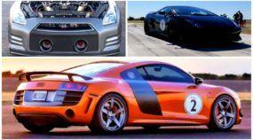 A mais insana disputa (com carros super preparados): Audi R8 X Lamborghini Gallardo X Nissan GT-R! Quem leva?
