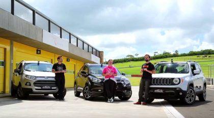 Batalha surpreendente dos SUVs na pista: Honda HR-V x Jeep Renegade x Ford Ecosport! Quem vence?