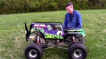 Com incrível Mini-Motor V8, esse cara criou a Picape Monstro RC dos sonhos! Veja ela em ação!