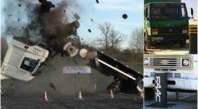Brutalmente impressionante! Veja 3 Caminhões se desmanchando ao baterem nesse pequeno Poste (super resistente)!