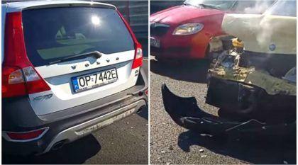 Numa batida, esse pobre Fiat ficou destruído (enquanto o Volvo parece não ter sofrido nada)! Veja o Vídeo surpreendente!
