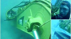 Isso é inacreditável! Veja uma Escavadeira Caterpillar trabalhando no fundo do Mar!