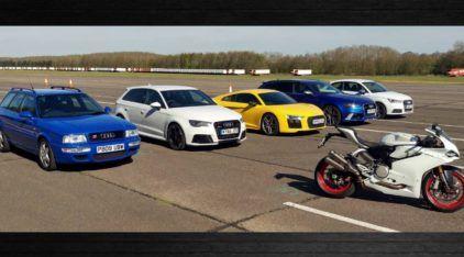 Incrível: todos os esportivos da Audi (S1, RS2, RS3, RS6 e R8) e uma Ducati em um desafio