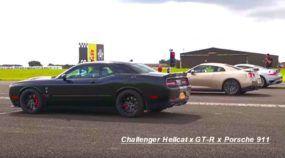 EUA x Japão x Europa: Challenger Hellcat, Nissan GT-R e Porsche 911 Turbo se enfrentam pra valer!
