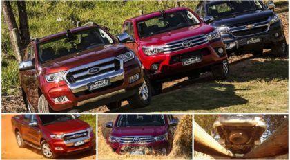 Desafio TOP das Picapes: Hilux x S10 x Ranger! Qual é melhor e mais rápida no Off-Road?