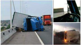 Vídeo flagra ventos fortes tombando carreta Scania em Santa Catarina!