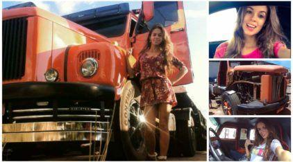 """Vida de Caminhoneira: Vídeos mostram Anailê do """"Jacaré"""" e os desafios de trabalhar com antigos caminhões"""