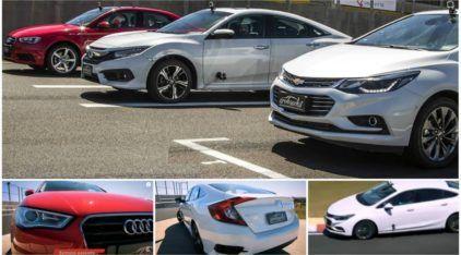 Hora da verdade na pista: Chevrolet Cruze x Honda Civic x Audi A3! Qual é o mais rápido?