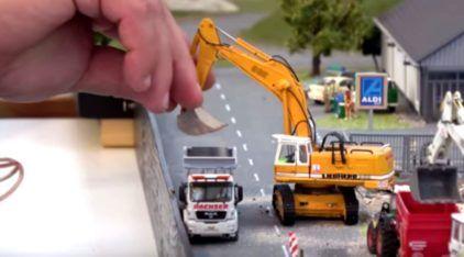 Veículos RC (escala 1/87) em ação: mundo em miniatura como você nunca viu