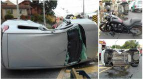 Vídeo inacreditável: Moto Kawasaki bate (e capota) Fiat Uno em Curitiba