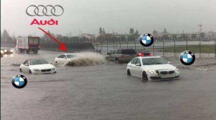 Enquanto três BMW encalharam no alagamento, esse Audi A6 humilhou todo mundo