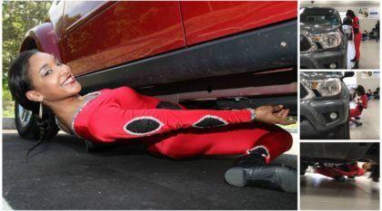 Recorde inacreditável: Veja como essa mulher passou por baixo de um SUV (carregando uma bandeja com bebidas)
