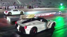 Duelo de R$ 10 milhões: pai e filho aceleram LaFerrari e Porsche 918 Spyder em pista de arrancada