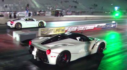 Duelo de hipercarros: pai e filho aceleram LaFerrari e Porsche 918 Spyder em pista de arrancada