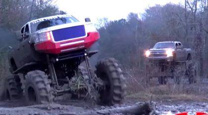 Off-Road Extremo: Monstros Chevy (motor Duramax diesel) passeiam em um lamaçal animal