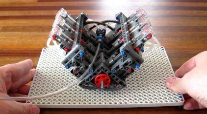 Motor V6 feito com peças de LEGO funciona de forma fantástica (a 800 RPM)