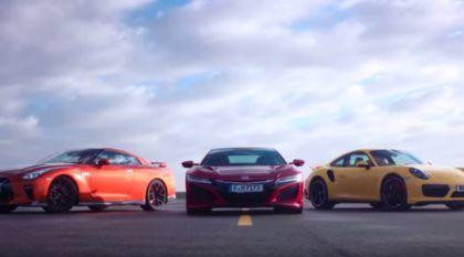 Honda NSX, Porsche 911 Turbo e Nissan GT-R no tira-teima: quem alcança primeiro 240 km/h?