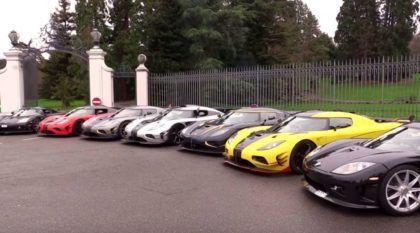 Família reunida! Amigos reúnem 7 supercarros Koenigsegg e aceleram tudo nas ruas de Genebra, na Suíça