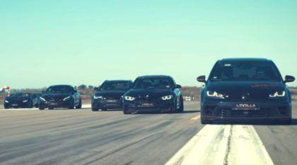 Preparadora alemã filma arrancada insana entre 10 carros modificados (GT-R, Golf R, Audi RS6, Lamborghini e mais monstros)