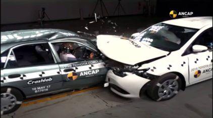 Essa batida entre dois Toyota Corolla (um novo e outro 1998) revela como a segurança evoluiu espantosamente