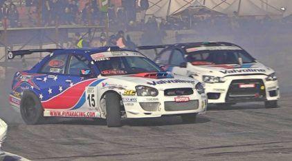 Subaru WRX STI vs Mitsubishi Lancer Evo X: o duelo continua, dessa vez no Drift profissional