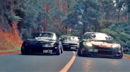 Montanha acima com três icônicos carros japoneses (preparados) em um vídeo incrível