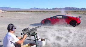 Prepare o coração: este cara atira com uma metralhadora 20MM através de um Lamborghini Huracán