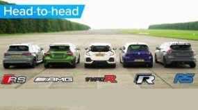 Briga do século dos Hatches na Arrancada: RS3, A45 AMG, Civic Type R, Golf R e Focus RS na disputa
