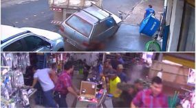 Flagra em vídeo: Caminhão perde o controle, destrói Fiat Uno e invade Loja em Goiás