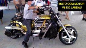 Brasileiro cria moto com motor V8 do Ford Landau (Veja e ouça essa insanidade)