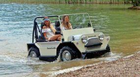 Conheça o veículo anfíbio que é uma espécie de mini jipe misturado com um carro de golfe