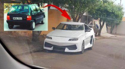 """Flagra: Brasileiro transforma Fiat Uno em um """"LamborgUNO Aventador"""""""